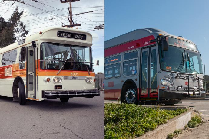 split images of 1975 and 2018 trolley coaches