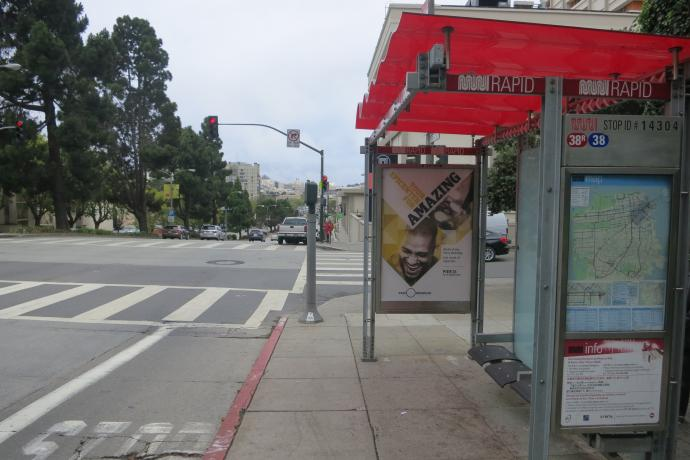 Bus stop on Geary at Laguna.