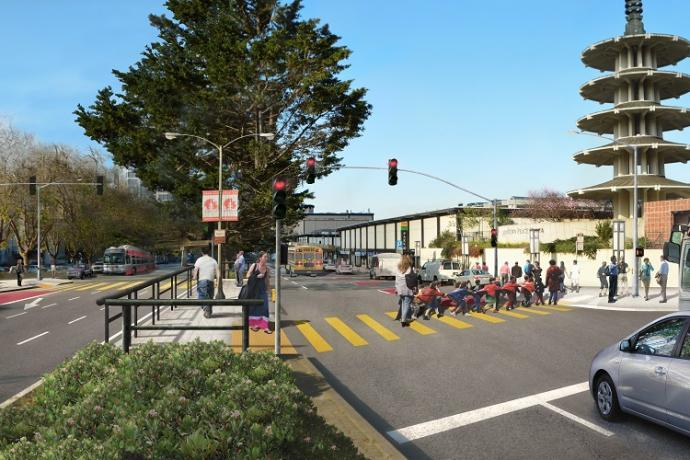Rendering of proposed improvements at Geary and Buchanan
