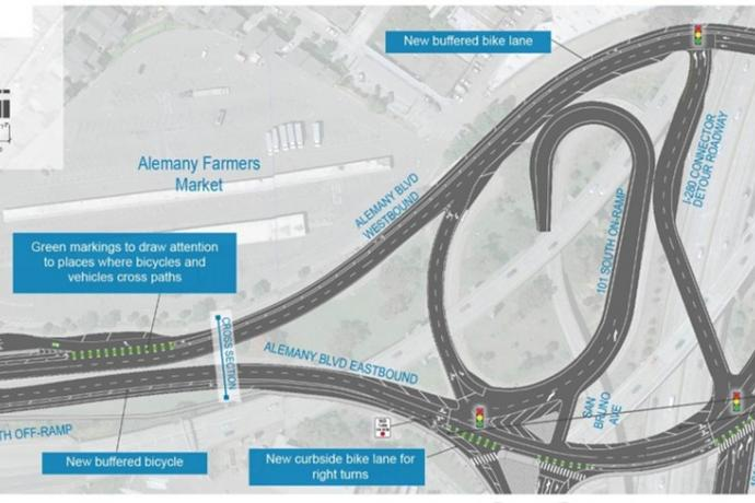 Color drawing showing conceptual design of Alemany Boulevard from Putnam Street to Bayshore Boulevard with new bike lanes