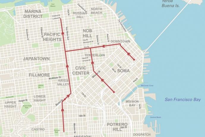 No Left Turns on Van Ness Map.