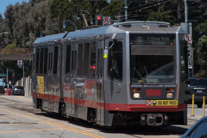 K Ingleside train traveling on Ocean Avenue