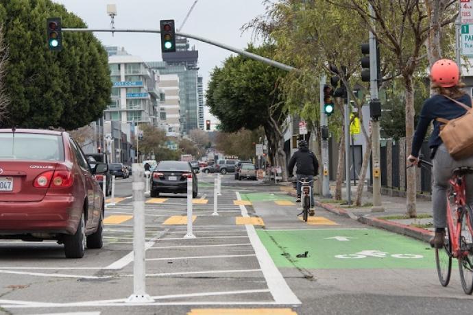 Bikes in the bike lane.