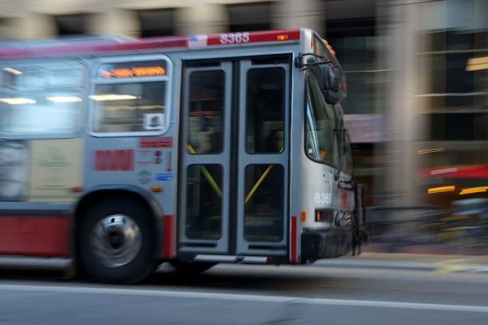 A Muni bus driving.