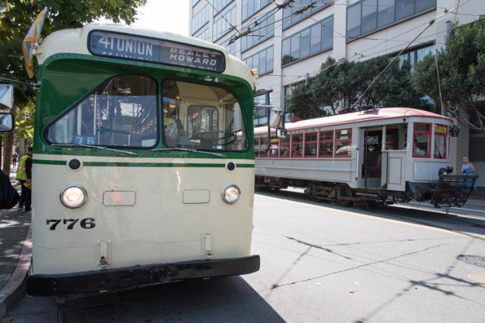 trolley coach and streetcar