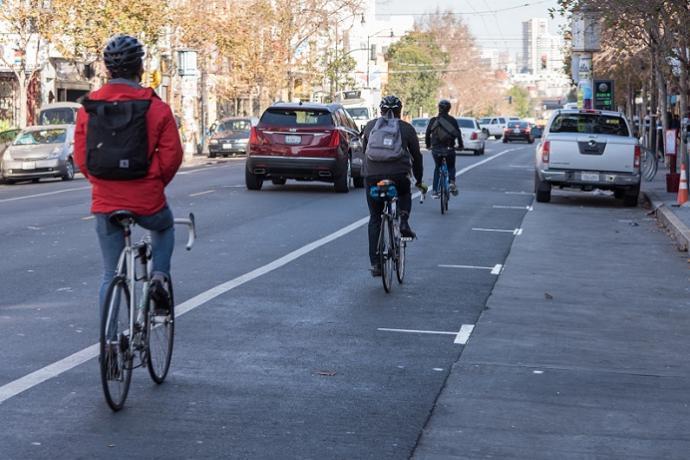 Bikes on Valencia bike path.