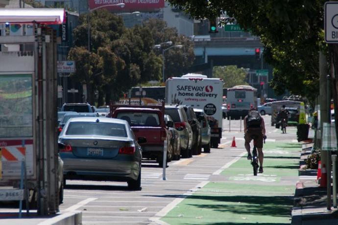 Bike on the bike path at Howard Street.