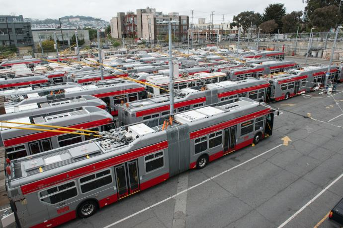 Buses at Potrero Yard