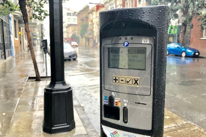 New parking meters on Post Street.