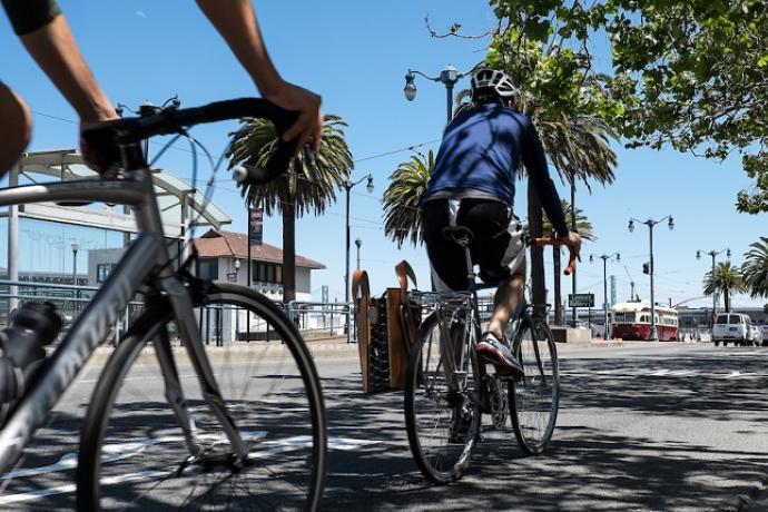 Biking on the Embarcadero.