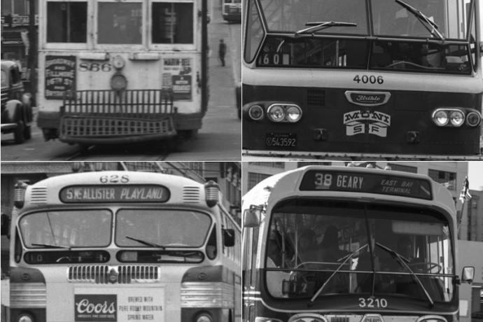 four buses in a square layout