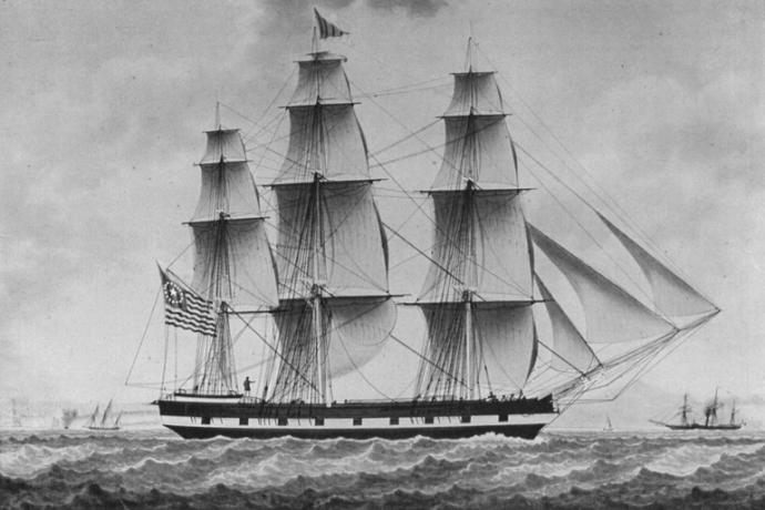 painting of sailing ship rendered in black and white