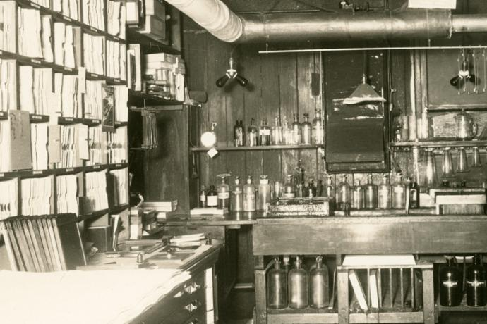 darkroom filled with photo equipment and chemicals