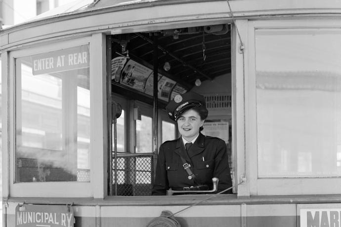 Muni operator Dolores Piluso in 1943.