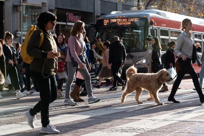 People walking around San Francisco