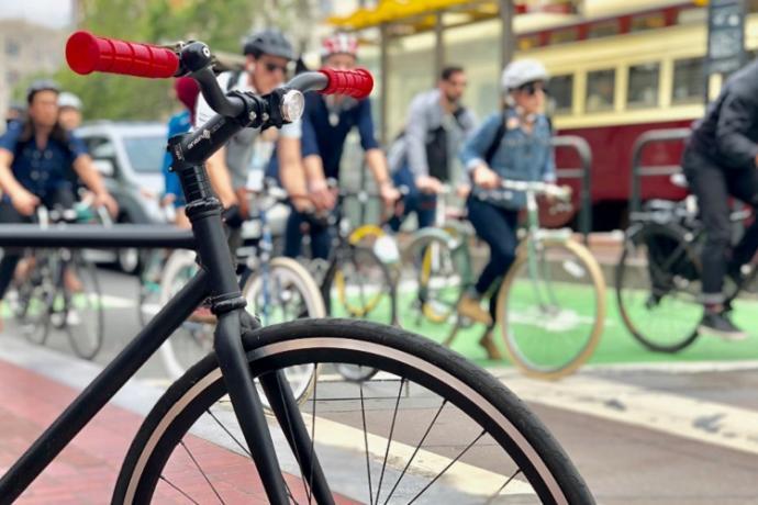 bikes at a stop light