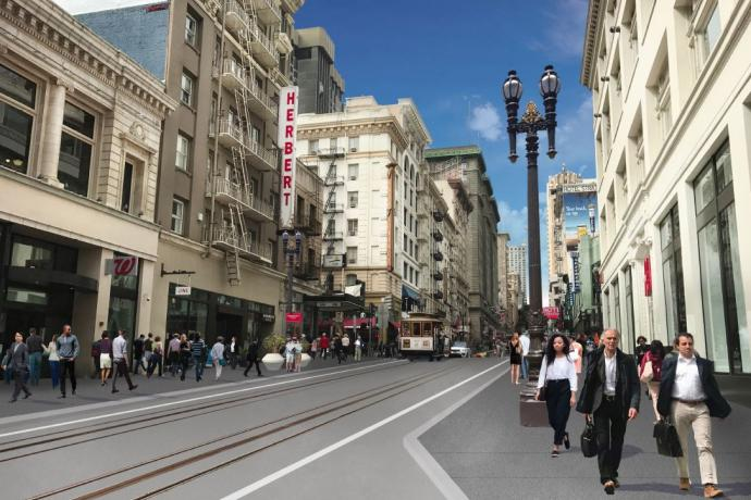 A rendering of the Powell streetscape conceptual design with wider sidewalks, expanded loading, and a refreshed streetscape.