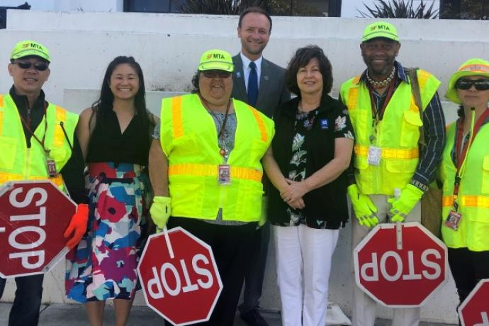 Tom Maguire with crossing guards