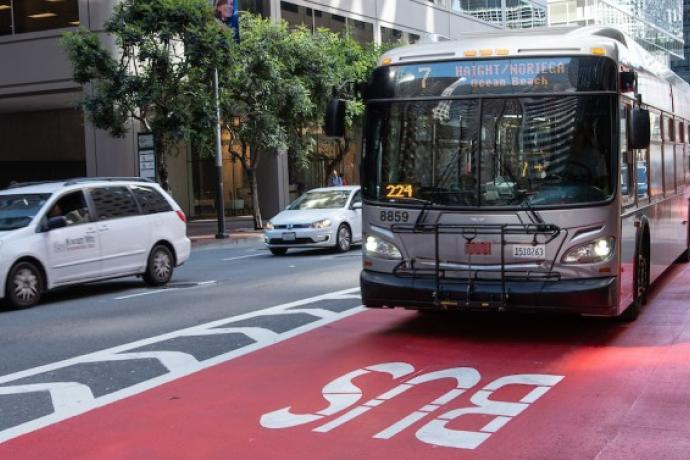 The 7 Haight using the transit only red lanes