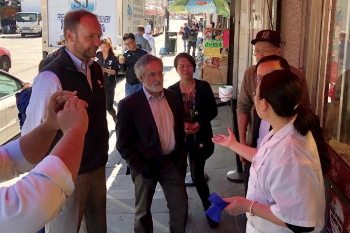 Aaron Peskin and Interim Director of Transportation meeting with Chinatown merchants.