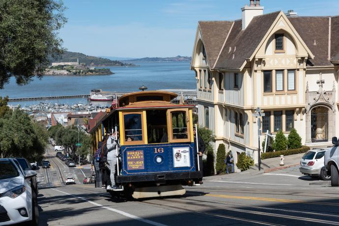 Powel Line Cable Car with Alcatraz in the background