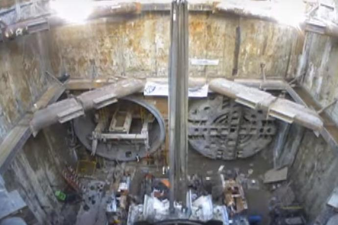 Boring machines coming out of the tunnels