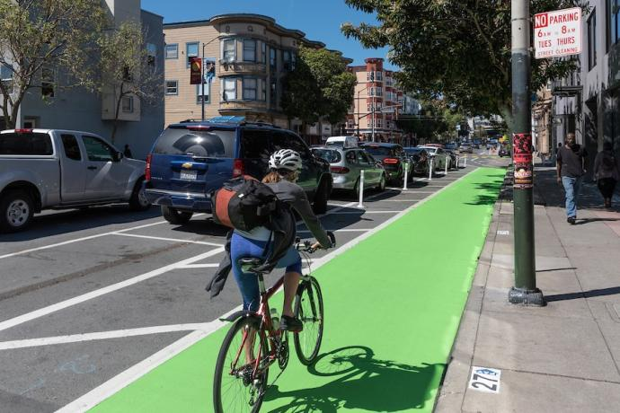 freshly painted bike path on Valencia