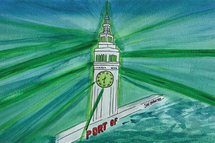 Vanessa Fajardo's Image of the San Francisco Ferry Building as submitted for Muni Art 2020