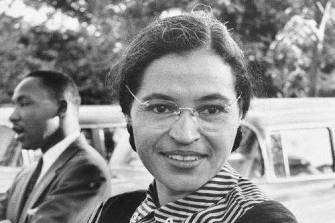 Portrait of Rosa Parks with Martin Luther King Behind her