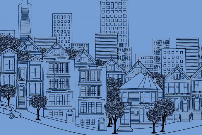 Line sketch of the San Francisco Skyline