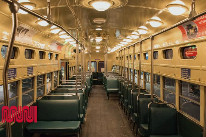 Image shows interior of historic street car
