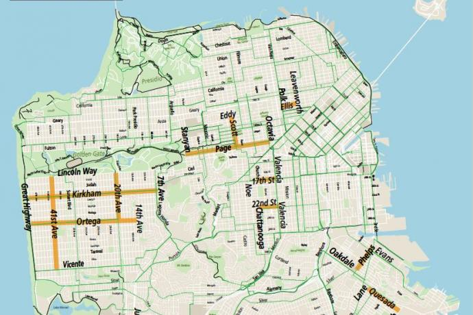 map showing slow street possible streets with bike paths