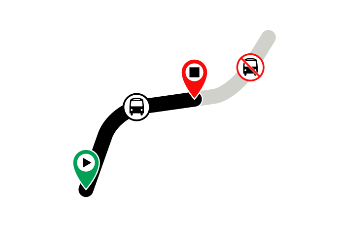 graphic indicating shorter route