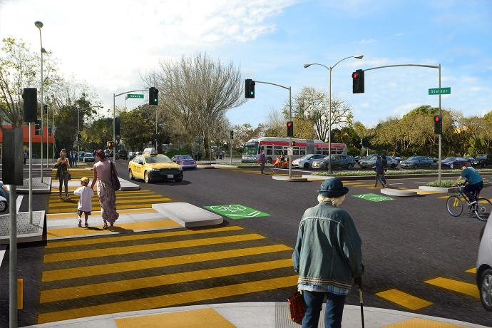 Rendering of the future Geary at Steiner with the pedestrian bridge removed and new crosswalks installed