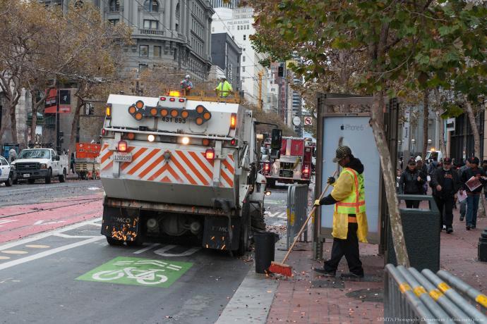 Street Sweeping taking place along Market Street