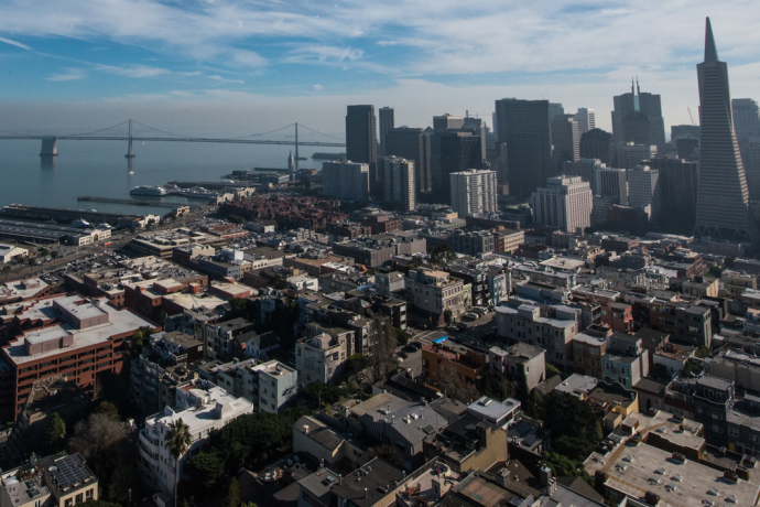 Image from Coit Tower of San Francisco skyline