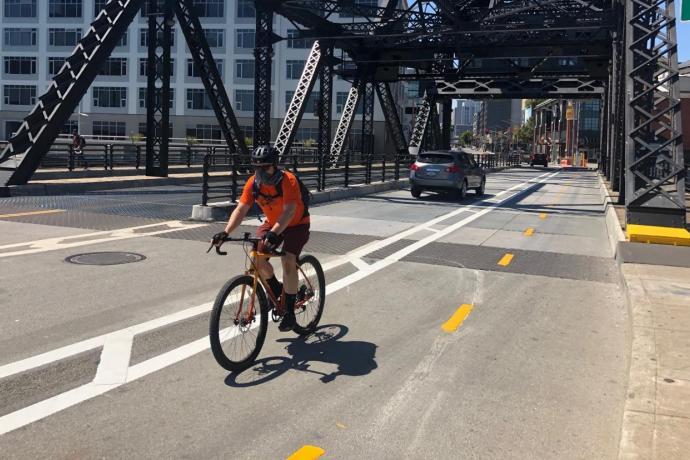 Man on Third Street Bridge Bikeway