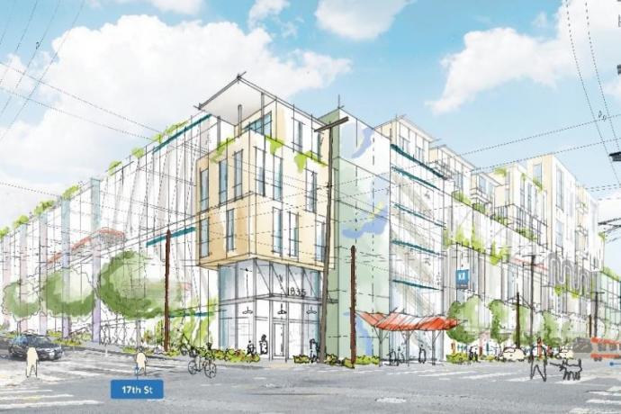 A rendering of a rebuilt Potrero Yard
