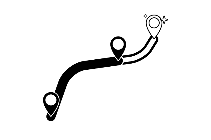 graphic indicating an extended route with new stops