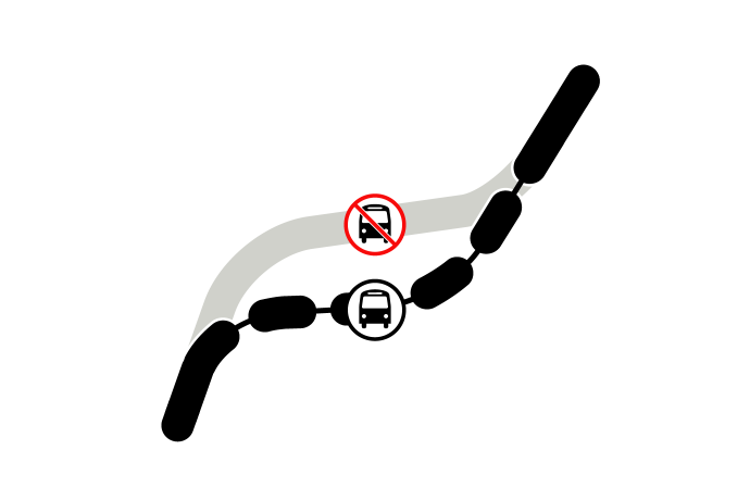grahpic depicting bus on reroute