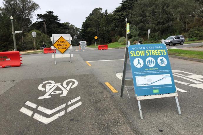 Golden Gate Park Slow Streets sign