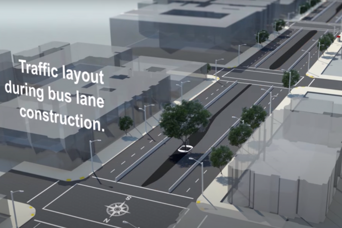 New traffic layout on Van Ness during Bus Rapid Transit Construction