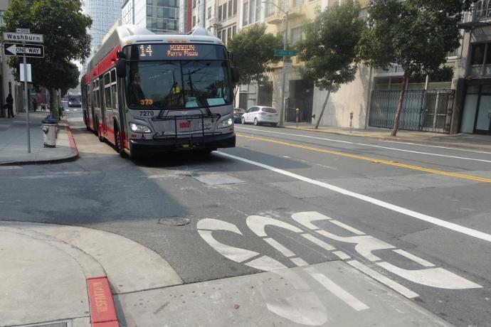 14 Mission on downtown transit lane in SoMa.