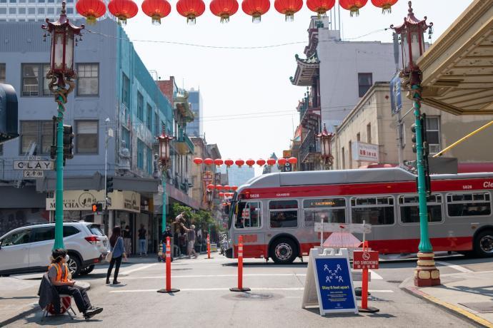 Muni 1 California traveling through Chinatown on Clay Street