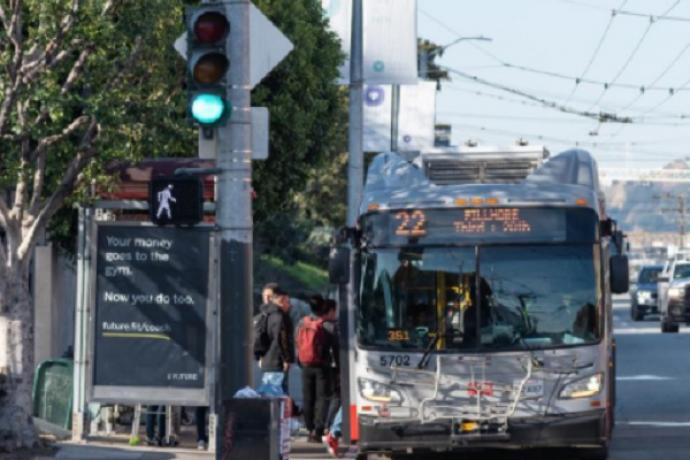 Photo of the 22 Fillmore bus loading passengers