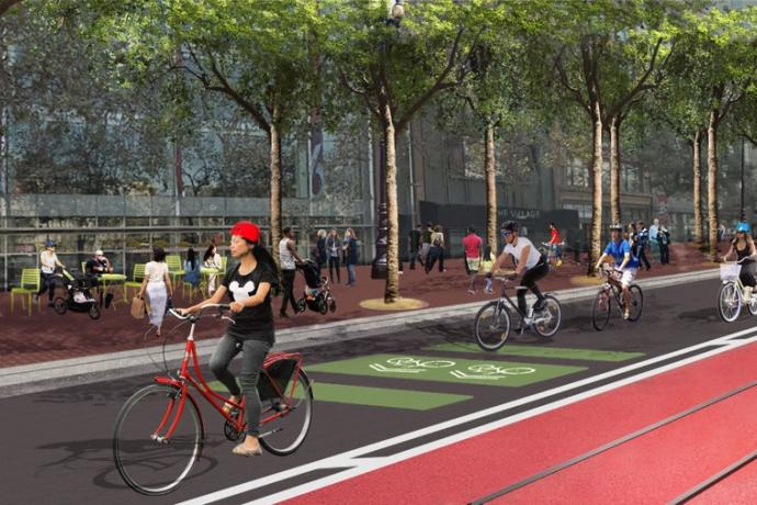 Illustration of people on bicycles on Market Street