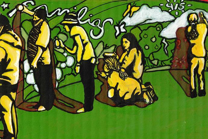 Artists creating mural. Mural and ground are green; people are yellow.