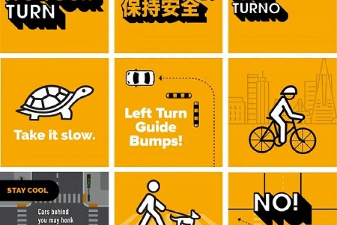 """nine posters with these messages: """"safety it's your turn"""" in english, chinese and spanish, """"take it slow"""" with an image of a tur"""