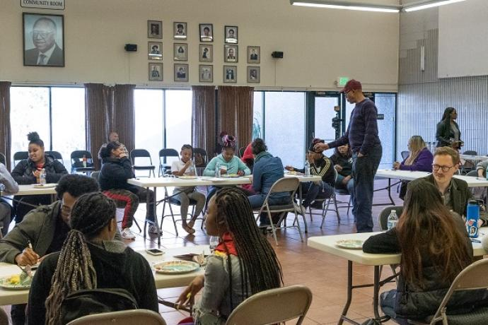 Photo of students and SFMTA staff in a Youth Summit workshop