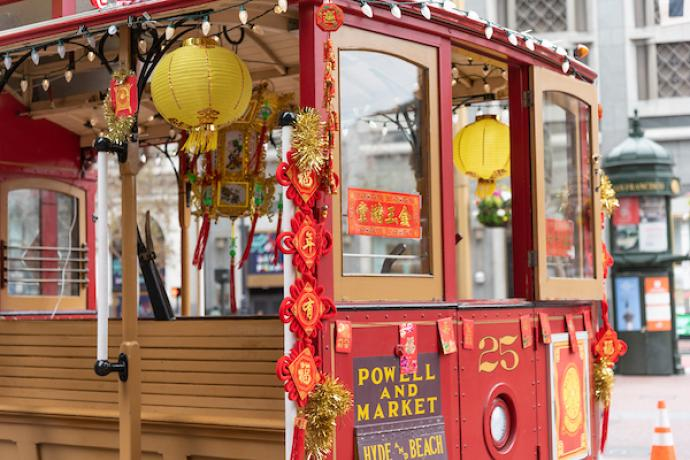 Cable Car decorated for the Lunar New Year